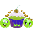 download Lovers Cupcake Smiley Emoticon clipart image with 45 hue color