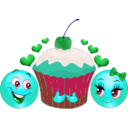 download Lovers Cupcake Smiley Emoticon clipart image with 135 hue color