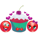 download Lovers Cupcake Smiley Emoticon clipart image with 315 hue color
