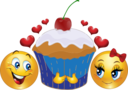Lovers Cupcake Smiley Emoticon
