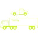 download Semi And Pickup Trucks clipart image with 45 hue color