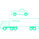 download Semi And Pickup Trucks clipart image with 135 hue color