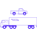 download Semi And Pickup Trucks clipart image with 225 hue color