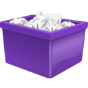 download Purple Plastic Box Filled With Paper clipart image with 315 hue color