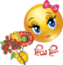 Pretty Girl Flower Smiley Emoticon
