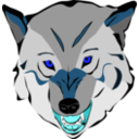 download Wolf clipart image with 180 hue color