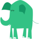 download Blue Elephant clipart image with 315 hue color