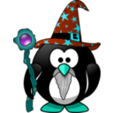 download Wizard Penguin clipart image with 135 hue color