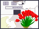 Student Gives Flowers To Teacher