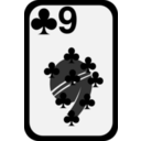 download Nine Of Clubs clipart image with 315 hue color