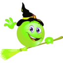 download Broom Witch Smiley Emoticon clipart image with 45 hue color