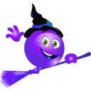 download Broom Witch Smiley Emoticon clipart image with 225 hue color