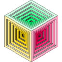 download Engraved Cube 2 clipart image with 315 hue color