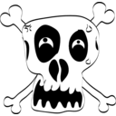 download Freehand Funny Skull clipart image with 180 hue color