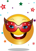 Yellow Party Mask Smiley Emoticon