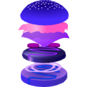 download Hamburger clipart image with 225 hue color