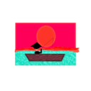 download Chinese Man In A Boat Under A Sunset clipart image with 315 hue color