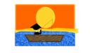 Chinese Man In A Boat Under A Sunset