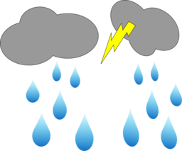 Cloud Lightning And Rain Clipart - Royalty Free Public Domain Clipart