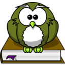 download Cartoon Owl Sitting On A Book clipart image with 45 hue color