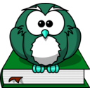 download Cartoon Owl Sitting On A Book clipart image with 135 hue color