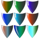 download Shields clipart image with 135 hue color