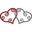 Red Silver Maori Hearts Interlinked