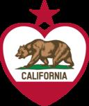 California Flag Heart Star On Top