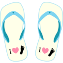 Thong Light Yellow And Blue With I Love Foot Symbol