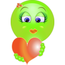 download Cute Girl Heart Emoticon Smiley clipart image with 45 hue color
