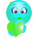 download Cute Girl Heart Emoticon Smiley clipart image with 135 hue color