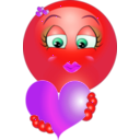download Cute Girl Heart Emoticon Smiley clipart image with 315 hue color