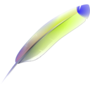 download Feather clipart image with 315 hue color