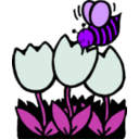 download Bee And Flowers clipart image with 225 hue color