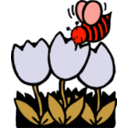 download Bee And Flowers clipart image with 315 hue color