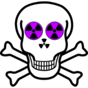 download Nuclear Warning Skull clipart image with 225 hue color