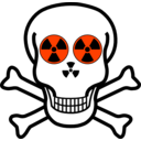 download Nuclear Warning Skull clipart image with 315 hue color