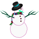 download A Scarfed Snowman clipart image with 135 hue color