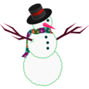 download A Scarfed Snowman clipart image with 315 hue color