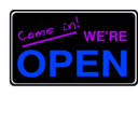 download Open Sign2 clipart image with 225 hue color