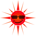 download Cool Happy Sun clipart image with 315 hue color