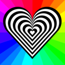download Zebra Heart 12 Stripes clipart image with 315 hue color