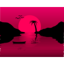 download Sunset Waterscene clipart image with 315 hue color