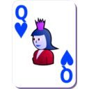 download White Deck Queen Of Hearts clipart image with 225 hue color