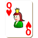 download White Deck Queen Of Hearts clipart image with 0 hue color