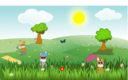 Summer Green And Sunny Landscape With Bunnies Trees Flowers Butterfly Apples Sports