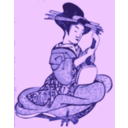 download Geisha With A Shamisen clipart image with 225 hue color