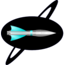 download 1950s Rocket Ship clipart image with 180 hue color