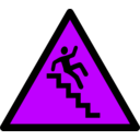 download Caution Stairs clipart image with 225 hue color