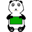 download Panda Holding A Sign clipart image with 45 hue color